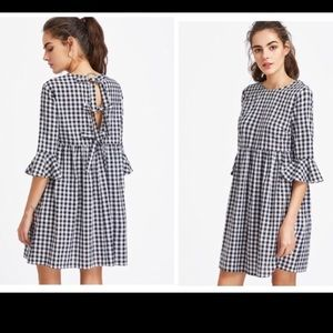 Shein Gingham Tie-Back Dress M